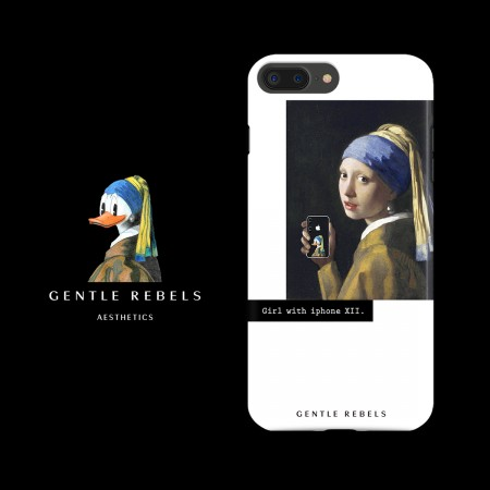 GENTLE REBELS niche iphone7 mobile phone shell pearl girl oil painting Donald Duck apple 6/8p/X