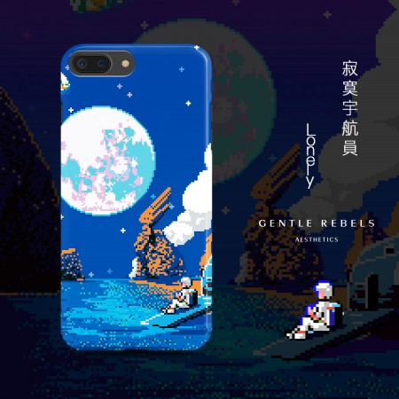 GENTLE REBELS retro iphone8 mobile phone shell pixel game space astronaut Apple 6s/7/X